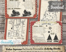 Polar Express Activity Sheets - INSTANT DOWNLOAD - Printable Christmas Birthday Party Games, Puzzles, Coloring Sheets by Sassaby Parties