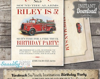 Vintage Firetruck Invitation - INSTANT DOWNLOAD - Partially Editable & Printable Fireman, Fire Engine, Birthday Party Invite Sassaby Parties