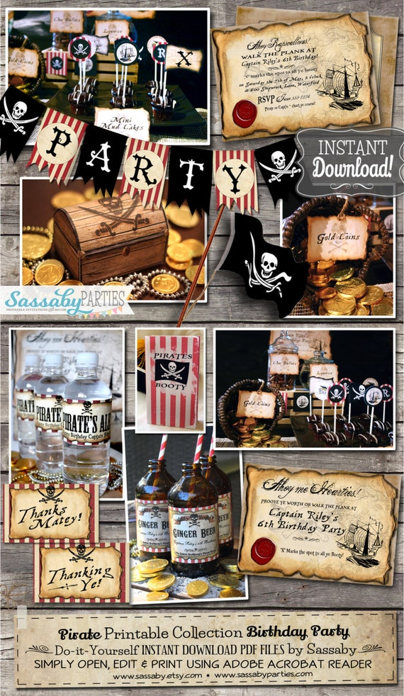 Pirate Birthday Party Collection - INSTANT DOWNLOAD - Editable & Printable Birthday Party Decorations by Sassaby