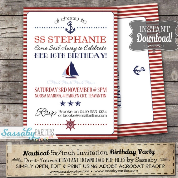 Birthday Party Yacht: Nautical Invitation