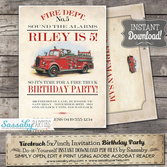 Vintage Firetruck Invitation - INSTANT DOWNLOAD - Editable & Printable Fireman, Fire Engine, Birthday Party Invitation by Sassaby Parties