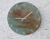 Round, Rusty, Metal Wall Clock. Urban, rusty, Industrial. Abstract. Distressed. Minimalist. Art. Decor.  Functional Art. Home Decor.