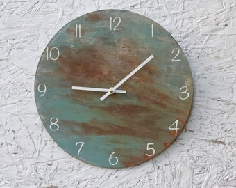 Round, Rusty, Metal Wall Clock. Urban, rusty, Industrial. Abstract. Distressed. Minimalist. Art. Decor.  Functional Art. Home Decor.