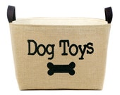 Dog Toys Burlap Storage Bin - burlap pet organization