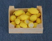 Dollhouse Miniature Food - One Inch Scale Lemons - In Crate - Handmade - Removable