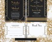 Art Deco Geometric Wedding Invitation Suite of 4 Printable