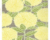 Yellow Floral Cotton Fabric Yellow Flower and Leaf Print 100% Sewing Cotton Woven Fabric by the Yard