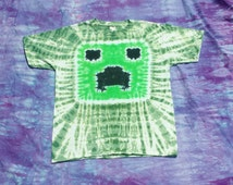 Tie Dye Inspired by Minecraft Creeper Child Size T Shirts