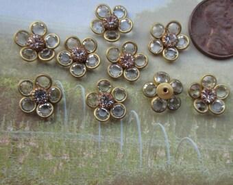 6 Vintage Swarovski  Chanel Set Flower Crystal Finding
