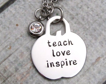 Hand Stamped Teacher Necklace - Teach Love Inspire Hand Stamped Necklace - Personalized Necklace - Personalized Teacher Gift Apple Necklace