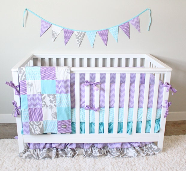 Girl Crib Bedding Grey Aqua Lavender Baby Bedding By