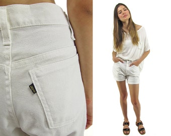 60s Linen Levis Shorts, Levis Sta-Prest, Minimalist Cotton Shorts, Vintage Linen Shorts, White Shorts, Clam Bake Shorts Δ size: md