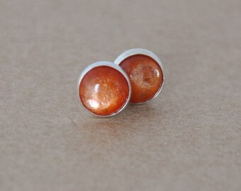 Sunstone Earrings handmade with Sterling Silver Studs. 6 mm Cabochon Gemstone Earrings