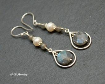 Labradorite Pearl Sterling Silver Long  Earrings