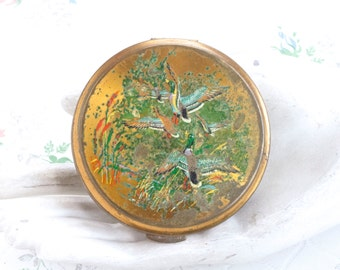 Flying Geese - Golden Compact Mirror and Powder Case - Vintage Make Up