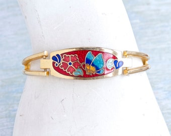 Art Nouveau Butterly and Flowers Cuff Bracelet - Colorful Enamels Bagle