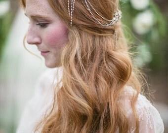 Bridal Hair Vine, Crystal Hair Comb, Rhinestone Hair Piece, Bridal Hair Comb, Crystal Hair Piece, 1920 Hair Piece, Gilded Hair Piece, Mae