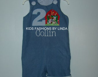 Denim/Lt Blue Gingham Jon Jon  with Birthday Number/Barn Applique