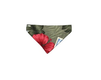 Dog Bandana, Small Over the Collar Hawaiian Red Hibiscus Flower Slip On
