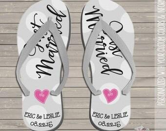 wedding flip flops - personalized just married wedding flip flops