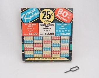 Vintage Kuter Kolors Unused Punch Board - Trade Stimulator Gambling Lottery Game