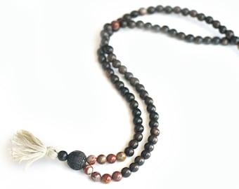 Tiger Ebony & Noreena Jasper Mala Beads, Yoga Mala, 108 Mala Beads, Boho Necklace, Tassel Necklace, Meditation Tool, Japa Mala
