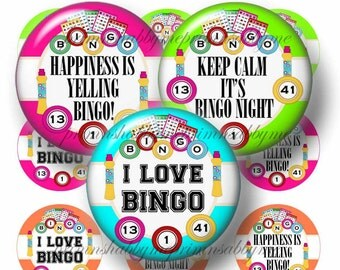 "Bingo, 1"", 1.25"", 1.5"", 2"" Circles, Digital Collage Sheets, Printable Circles , Printable Images For Cupcake Toppers, Magnets, Tags, Jewelry"