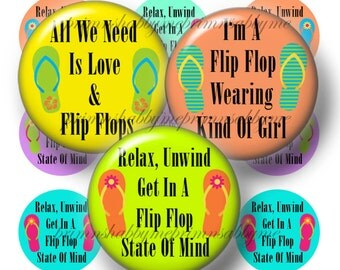 5 Flip Flops, Bottle Cap Images. Digital Collage Sheet, 1 Inch Circles for Bottle Caps, Glass Tiles, Cabochons, Cupcake Toppers, Jewerly