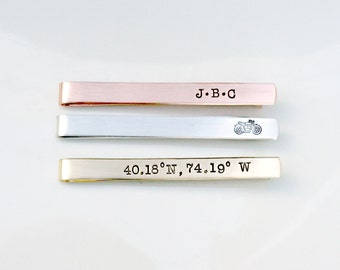 Hand Stamped Tie Bar - Custom Tie Clip - Personalized Tie Bar - Tie Tack