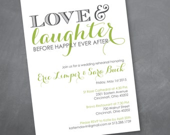 Love and Laughter Rehearsal Dinner Invitation - Digital Design File