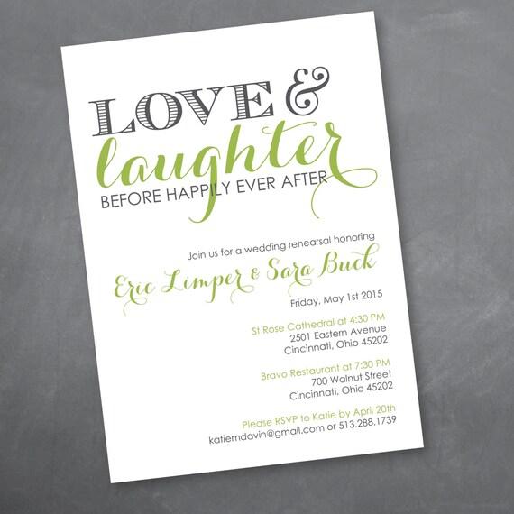 Wedding Welcome Dinner Invitation Wording: Love And Laughter Rehearsal Dinner Invitation Digital Design