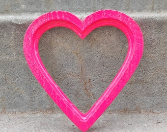 Hot Pink Heart Picture Frame With Glass and Backing Bright Valentines Girly Girl Bedroom Dorm Decor
