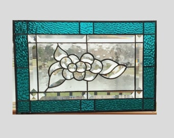 Stained glass panel window clear flower teal blue stained glass window panel window hanging flower bevel cluster suncatcher 17 3/8 x 11 3/8
