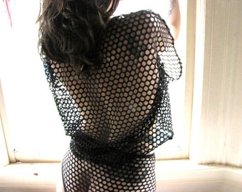 Womens Clothing Sheer See Through Lingerie Crop Top - black camisole - sheer shirt- mesh top boxy - gothic clothing - underwear -sheer dress