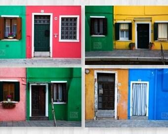 Burano photography, City photography, Windows and Doors, Colourful houses, Bright home décor, Venezia wall art, Italy photography, Venice