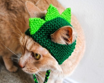 Dinosaur Cat Hat - Lime and Green - Hand Knit Cat Hat - Cat Halloween Costume