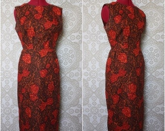 Vintage 1950's 60's Red and Brown Rose Print Cotton Wiggle Dress Medium