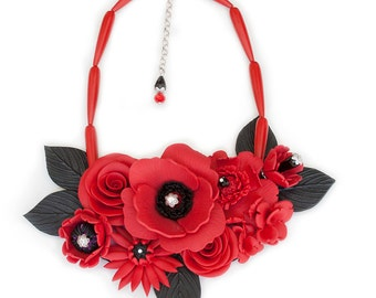 Large Red Flower Necklace, Statement Necklace, Party Necklace, Special Occasion Necklace