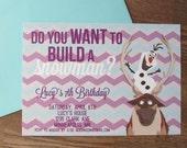 Frozen Birthday Invitation, Frozen Birthday Party, Olaf, Blue Teal Purple Silver Chevron