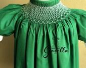 Girls Custom Smocked Cotton Bishop Dress with Ruffle Sleeves. Green Smocked Dress.