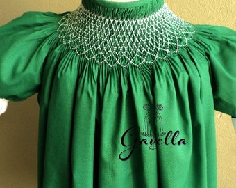 Girls Custom Smocked Cotton Bishop Dress with Ruffle Sleeves. Green Smocked Dress.