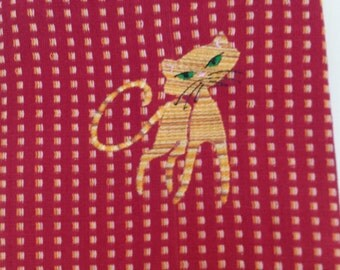 Embroidered Red Tabby Tea Towel