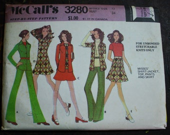 McCall 3280 1970s 70s Weekender Wardrobe Vintage Sewing Pattern Size 12 Bust 34