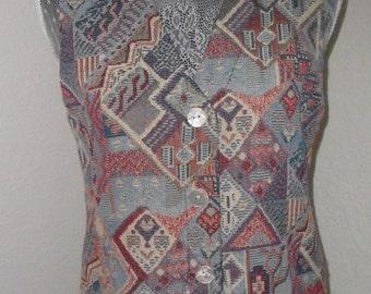 Vintage Vest Tapestry Novelty Size Small