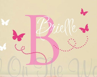 Vinyl Wall Decal Monogram Baby Girl Nursery Butterfly Name and Initial Butterflies Clip Art Decals Decor