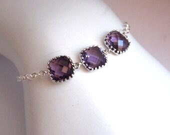 Sterling Silver Purple Bracelet, Crystal, Glass Bracelet, Tanzanite, Amethyst, Bridesmaid Bracelets, Bridesmaid Jewelry, Bridesmaid Gifts
