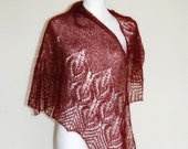 Oxblood Hand Knit Lace Shawl, Maroon Hand Knitted Lace Shawl