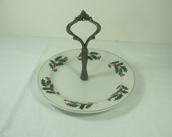 Vintage CHRISTMAS TIDBIT PLATE Holiday Stand Holly Cheese Appetizer