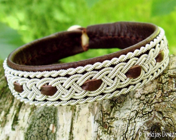 Tjekijas Viking VANAHEIM Sami Reindeer Leather Bracelet in Antique Brown with Tin Thread Braids and Antler Button - Handmade Nordic Spirit