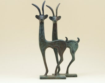 Greek Cretan Ibex Bronze Sculpture, Wild Goat Metal Art Sculpture, Constellation Capricorn, Museum Quality, Greek Art Decor, Art Gift Idea